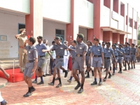 67th Republic Day – 26.01.2016 – Chief Guest - Assistant Commissioner of Police, Madurai - Dr. A. Manivannan, M.A., M.L., Ph.D., reveiving the guard of honour