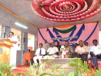 67th Republic Day – 26.01.2016 – Hostel Secretary Mr. Baskaran felicitating the gathering